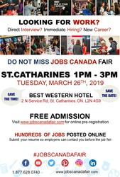FREE: St. Catharines/Niagara Job Fair – March 26th,  2019